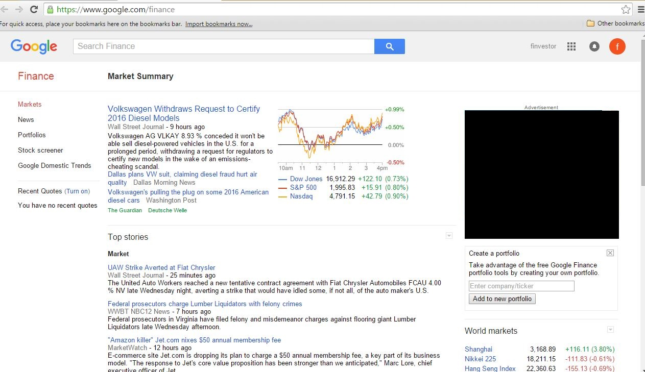 google finance front page